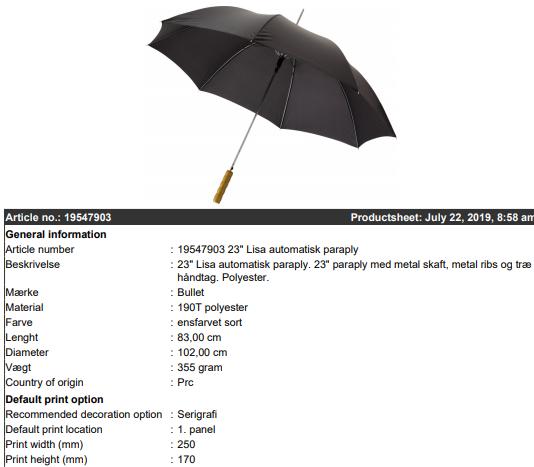 5255e9d4d Paraplyer, taskeparaplyer, golfparaply med eller uden dit logo tryk ...